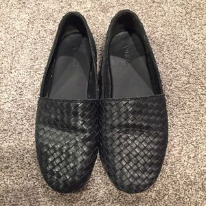 Vince Black Woven Bogart Flats Loafers Size 8